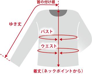 トップス肩線の無いものデザインのもの商品仕上がり寸法基準