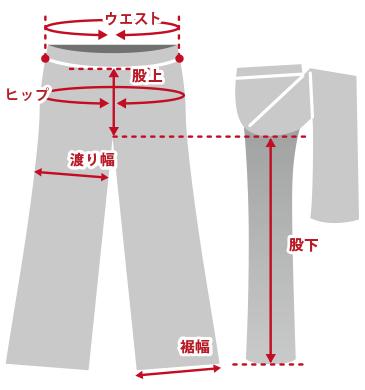 ボトムスパンツ商品仕上がり寸法基準