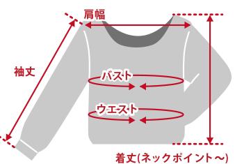 トップス後襟ぐりが下がったデザインのもの商品仕上がり寸法基準